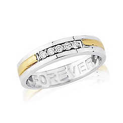 Love Story - Sterling Silver 9ct Gold Plated Ladies Stone Set Dress 'FOREVER' Message Ring