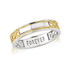 Love Story - Sterling Silver and 9ct Gold Plated Ladies Message 'FOREVER' Ring