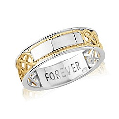 Love Story - Sterling Silver and 9ct Gold Plated Gents Message 'FOREVER' Ring