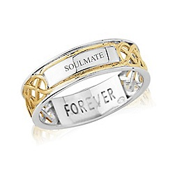 Love Story - Sterling Silver and 9ct Gold Plated Gents Message 'FOREVER' and 'SOULMATE' Ring