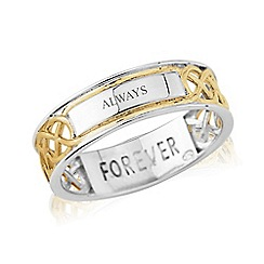Love Story - Sterling Silver and 9ct Gold Plated Gents Message 'FOREVER' and 'ALWAYS' Ring