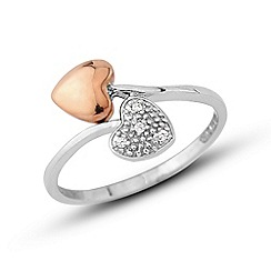 Love Story - Sterling silver & rose gold rhodium cz ring