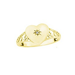Precious Moments - 9ct gold diamond set ladies signet ring