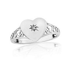 Precious Moments - 9ct white gold diamond set ladies signet ring
