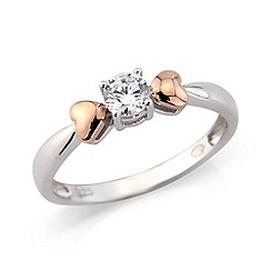 Love Story - Silver & 9ct gold cz ring