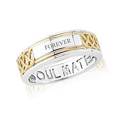Love Story - Sterling silver and 9ct gold plated 'soulmate' gents ring with 'forever'
