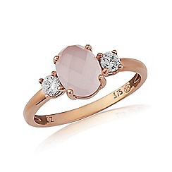 Love Story - 9ct Rose Gold, Rose Quartz Stone Set Ring