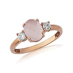 Love Story - 9ct rose gold plated on silver 'rose quartz' ladies dress ring