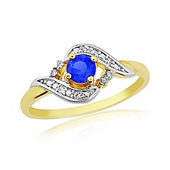Love Story - 9ct gold diamond and blue sapphire ladies ring