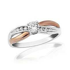 Love Story - Sterling Silver And 9ct Rose Gold Plated Dress Ring