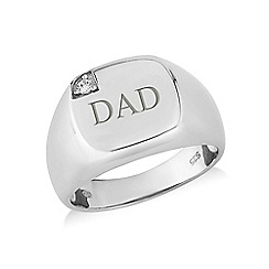 Love Story - Sterling silver cz 'Dad' signet ring