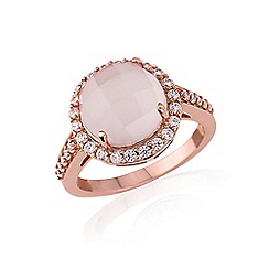 Love Story - Rose Rhodium Overlay on Sterling Silver Rose Quartz and Cubic Zirconia Ring