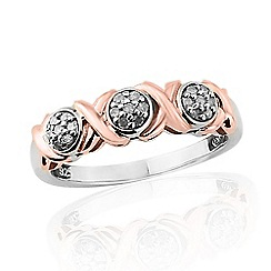 Love Story - Sterling Silver 9ct Rose Gold Plated Diamond Ring