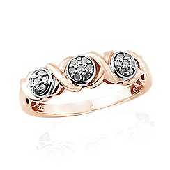 Love Story - 9ct Rose Gold Kiss Diamond Ring