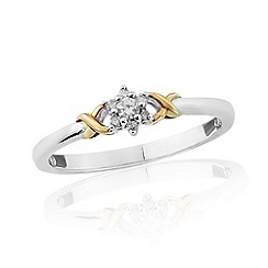Love Story - 9ct white gold diamond set 'kiss' ladies ring