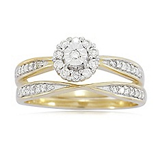 Love Story - 9ct Gold Ladies 0.33ct Ladies Diamond Ring Set