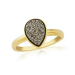 Precious Moments - Sterling Silver 9ct Gold Plated Drusy Ring