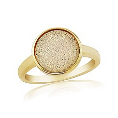Precious Moments - Sterling Silver 9ct Gold Plated Drusy Dress Ring