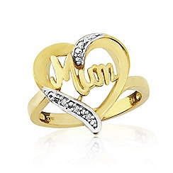 Precious Moments - Sterling Silver 9ct Gold Plated Diamond Set 'Mum' Ring