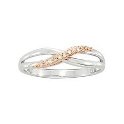 Precious Moments - Sterling Silver 9ct Rose Gold Plated Diamond Dress Ring