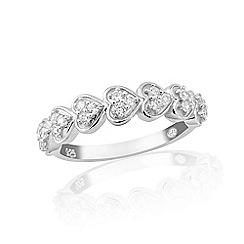 Precious Moments - Sterling silver half eternity stone set ladies ring