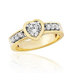 Precious Moments - Sterling silver and yellow rhodium stone set ladies dress ring