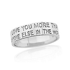 Precious Moments - Sterling silver 4mm ladies message commitment band ring