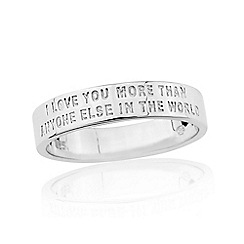 Precious Moments - Sterling silver 6mm gents message commitment band ring