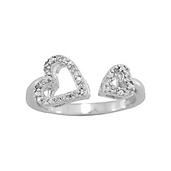 Precious Moments - Sterling silver stone set ladies heart ring