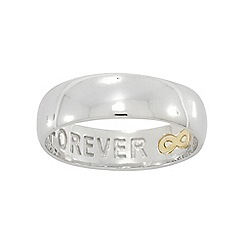 Precious Moments - Sterling Silver & 9ct Gold Gents Commitment Ring with Message