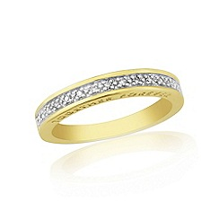 Love Story - 9ct gold plated on silver diamond set ladies ring with 'together forever'