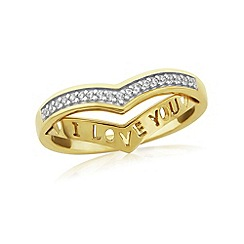 Precious Moments - 9ct gold plated on silver stone set wishbone ring with 'i love you'