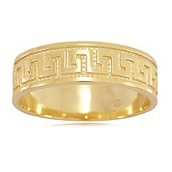 Precious Moments - Gold plated on silver greek key band ring
