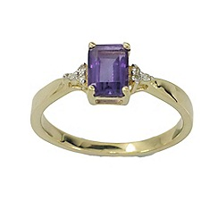 Precious Moments - 9ct gold diamond & amethyst ladies ring