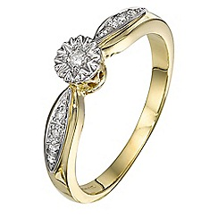 Starlight - 9 carat yellow gold 0.06ct diamond illusion set ring