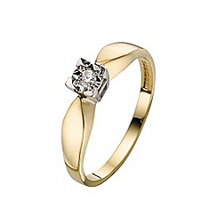 Starlight - 9 carat yellow gold 0.05ct diamond illusion set solitaire ring
