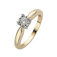 Starlight - 9 carat yellow gold 0.15ct diamond illusion set solitaire ring