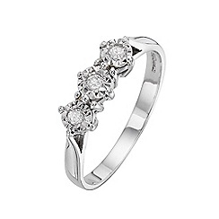 Starlight - 9 carat white gold 0.10ct diamond illusion set trilogy ring