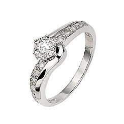 Starlight - 9 carat white gold 0.25ct diamond illusion-set solitaire twist ring with diamond set shoulders