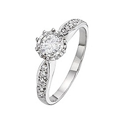 Starlight - 9 carat white gold 0.25ct illusion set diamond solitaire with diamond set shoulders
