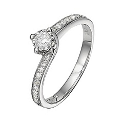 Starlight - 9 carat white gold 0.30ct diamond twist illusion solitaire with set shoulders