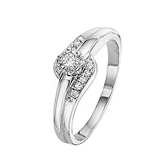 Starlight - 9 carat white gold 0.10ct illusion set diamond ring with set shoulders