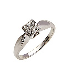 Starlight - 9 carat white gold 0.10ct diamond multi stone square ring