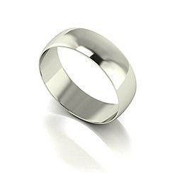 Love Story - 9ct white gold 6mm d shaped wedding band