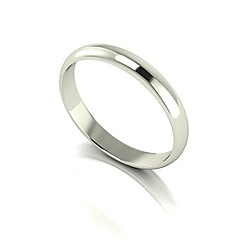Love Story - 9ct white gold 3mm med d shaped wedding ring