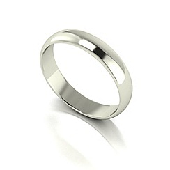 Love Story - 9ct white gold 4mm med d shaped wedding ring