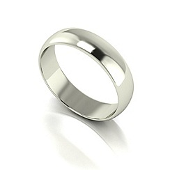 Love Story - 9ct white gold 5mm med d shaped wedding ring