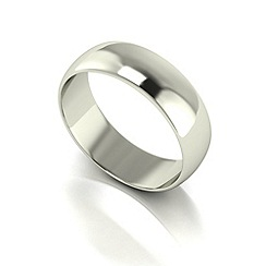 Love Story - 9ct white gold 6mm med d shaped wedding ring