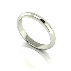 Love Story - 9ct white gold 3mm heavy d shaped wedding ring