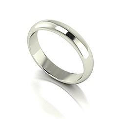 Love Story - 9ct white gold 4mm heavy d shaped wedding ring